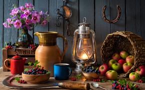 Picture flowers, berries, basket, apples, Board, lamp, kettle, mug, dishes, pitcher, fruit, still life, hammer