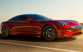 Picture road, car, machine, background, speed, red, sedan, red, side, Karma, sports car, GT, Karma Revero …