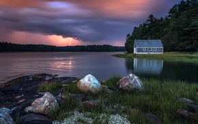 Picture night, nature, lake, house