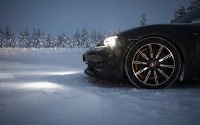 Picture light, snow, black, headlight, wheel, Porsche, 2020, Taycan, Taycan 4S