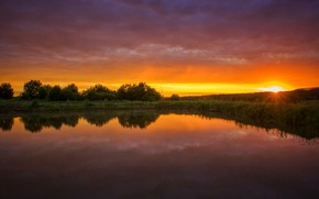Picture summer, sunset, nature, lake, pond