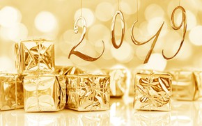 Picture winter, snow, snowflakes, background, gold, holiday, New Year, gifts, christmas, winter, decor, Two thousand nineteen