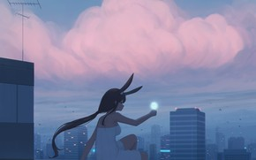 Picture girl, the city, rabbit, ears