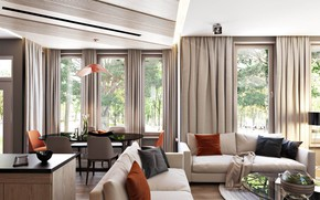 Picture interior, sofas, living room, dining room