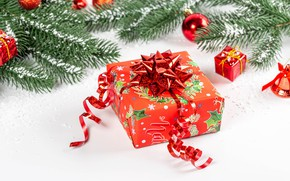 Picture branches, holiday, box, gift, balls, toys, new year, coniferous, ribbon, bokeh