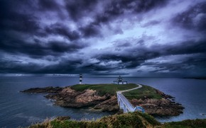 Picture clouds, coast, lighthouse, Spain