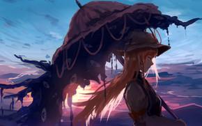 Wallpaper girl, long hair, sunset, umbrella, anime, artwork, Touhou, symbols, anime girl, Strikingly Is Wait
