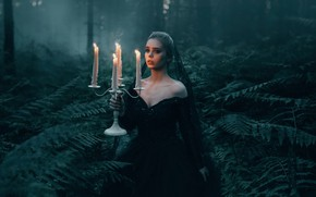 Picture forest, girl, the situation, candles, fern, Bird Man, Pasechnik, The Black Widow