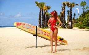 Picture sand, beach, swimsuit, girl, pose, palm trees, hands, figure, Board, surfing, visor, Alexander Semanin