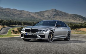 Picture asphalt, grey, track, BMW, sedan, 4x4, 2018, four-door, M5, V8, F90, M5 Competition