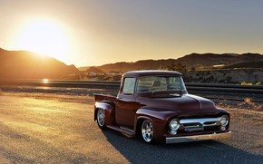 Picture Red, Classic, Pickup, Ford F-100