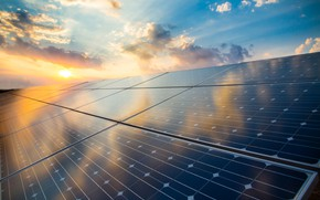 Picture sunset, sun, solar energy, solar panel