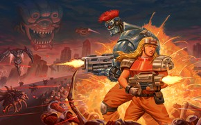 Picture girl, weapons, fiction, monster, cyborg, Blazing Chrome