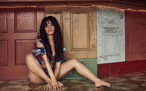 Picture look, girl, pose, passion, hair, brunette, singer, legs, beauty, on the floor, Camila Hair