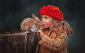 Picture autumn, look, stump, portrait, kiss, rabbit, girl, Bunny, Duo, friends, coat, takes, curls, Rus, Ксения …