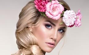 Picture look, girl, flowers, makeup, blonde, wreath