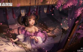 Picture petals, girl, characters, neckline, calligraphy, brush, veranda, Mat, looking up, Wisteria, Honor of Kings, by …