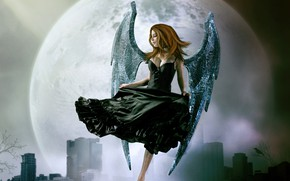 Picture girl, the city, fog, the moon, photoshop, angel, photoart