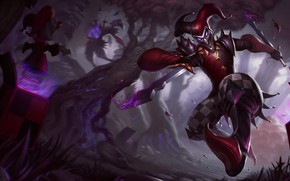 Picture trees, toys, fantasy, League of Legends, harlequin, Riot Games, Shaco, Evan Monteiro