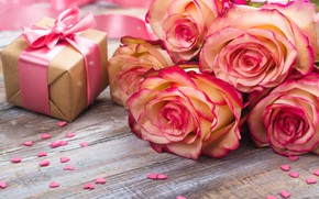 Picture gift, roses, bouquet, pink, beautiful