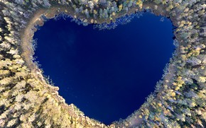 Picture lake, reflection, heart, heart, lake, reflection, Christian Lindsten