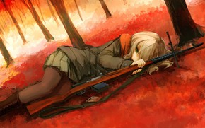 Picture loneliness, dagger, cartridges, rifle, military uniform, deprecia, sniper, in the woods, lying on his side, …