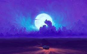 Picture car, moon, road, sky, desert, night, art, clouds, stars, artist, digital art, artwork, BisBiswas