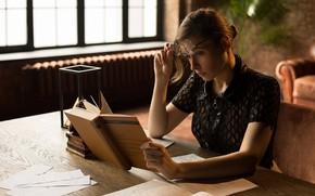 Picture girl, glasses, book, notebook, tutorial, student, Damp Zergut