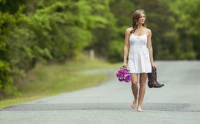 Picture road, summer, look, girl, flowers, nature, pose