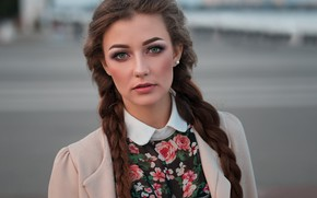 Picture look, girl, face, background, portrait, braids, Dmitry Shulgin, Диана Чмелева