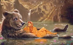 Picture Girl, Figure, River, Bear, Dress, Bear, River, Art, Fiction, by Kaloyan Stoyanov, Kaloyan Stoyanov, The …