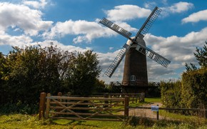 Picture the sky, clouds, mill