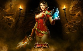 Picture girl, torches, character, Perfect World