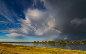 Picture field, summer, the sky, grass, clouds, trees, nature, river, blue, shore, rainbow, after the rain, ...