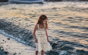 Picture shore, boat, wave, barefoot, dress, girl, child, barefoot, Anastasia Barmina, Anastasia Barmina