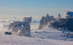 Picture winter, clouds, snow, trees, landscape, mountains, nature, rocks, home, forest, Crimea, AI-Petri