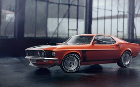 Picture Mustang, Ford, Auto, Machine, Orange, 1969, Ford Mustang, Rendering, Transport & Vehicles, by Eric Obregón, …