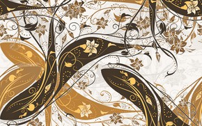 Picture white, leaves, flowers, pattern, vector, brown