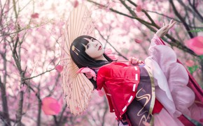 Picture look, girl, trees, flowers, branches, red, face, cherry, pose, style, umbrella, mood, red, portrait, spring, …