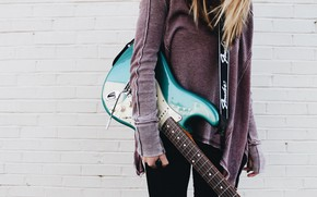 Picture music, girl, guitar, girls, blue, strings, musician, musical instrument, electric guitar, 4k ultra hd background