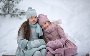Picture winter, snow, children, girls, Anastasia Barmina, Anastasia Barmina