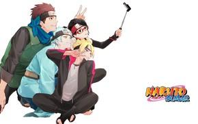 Picture glasses, white background, ninja, friends, smile, selfie, Boruto, bandage on forehead, Boruto Naruto The Next …