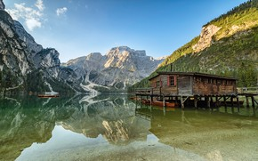 Picture mountains, lake, reflection, house