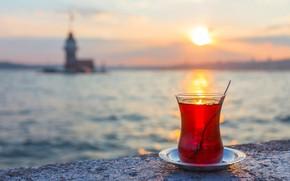 Picture sea, sunset, tea, istanbul, maiden tower