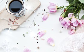 Picture flowers, coffee, bouquet, Breakfast, Cup, decor