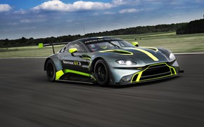 Picture Aston Martin, speed, Vantage, racing car, GT3, 2018