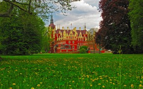 Picture greens, grass, clouds, trees, flowers, castle, Germany, dandelions, Muskau Castle