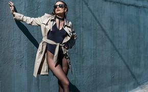 Picture girl, pose, wall, glasses, tights, cloak, Paola Alpago, Matthew Zancan