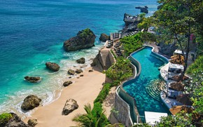 Picture sea, stones, pool, Bali, Indonesia, the hotel