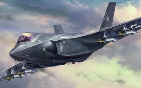 Picture Japan, fighter-bomber, JGSDF, Lockheed Martin F-35, Tankro Kato, F-35A Lightning II (A Version) Beast Mode …